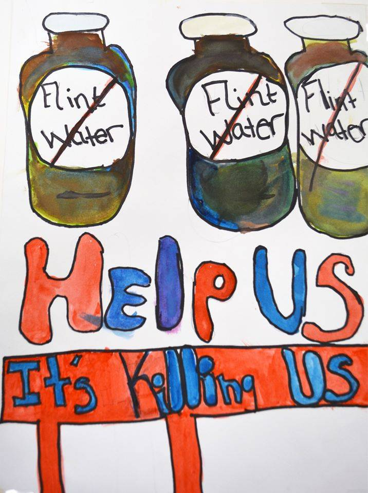 Drawing created by 8th grader, Elisha J., at Linden Charter School in Flint, Michigan in response to the Flint water crisis.